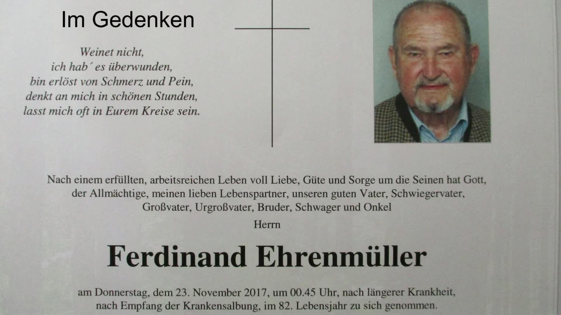 Im Gedenken an Ferdinand Ehrenmüller