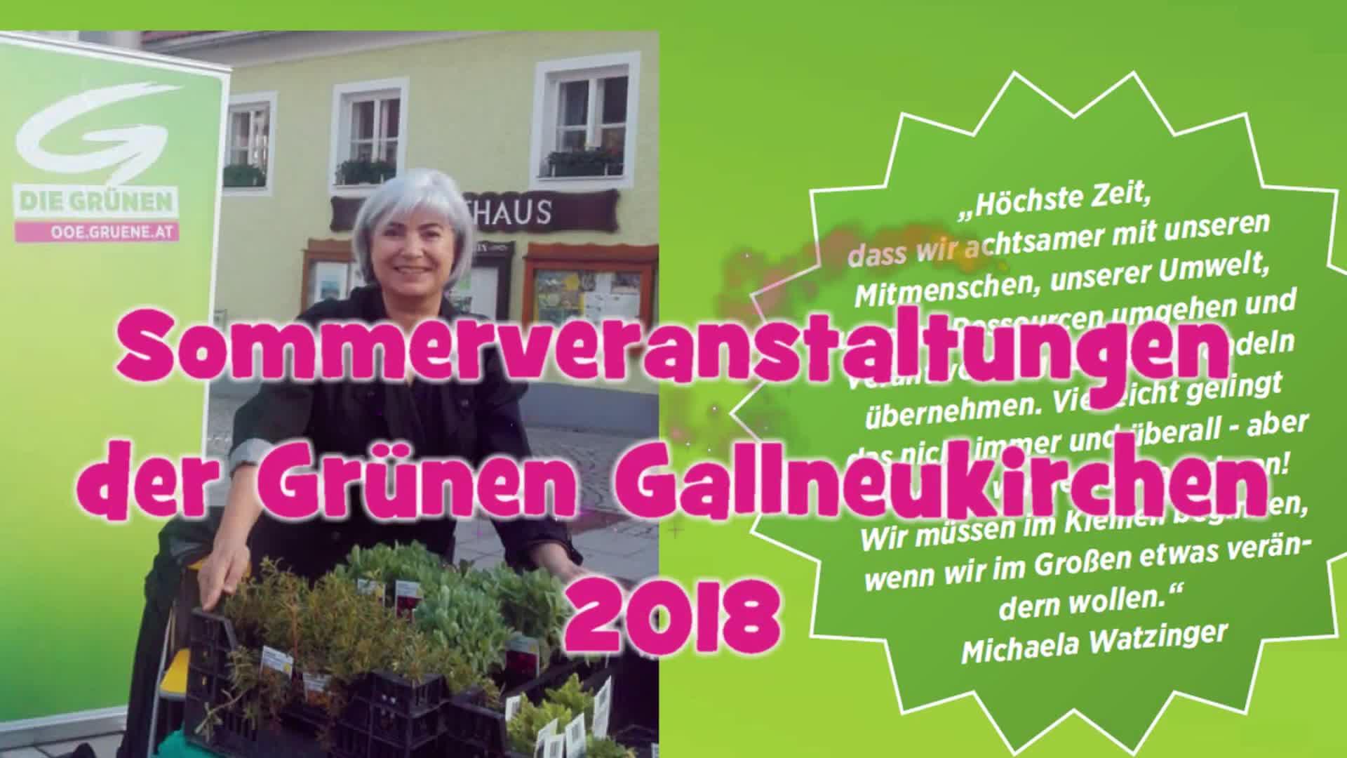 Sommerveranstaltungen der Grünen Gallneukirchen 2018