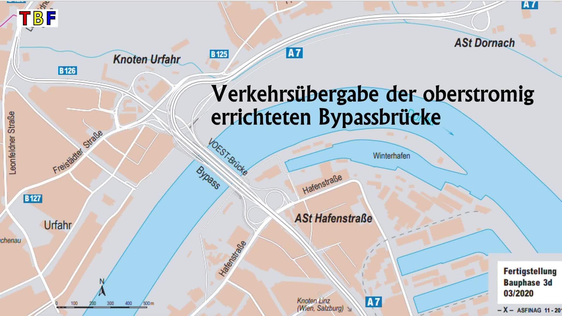 Verkehrsübergabe der stromaufwärts fertiggestellten Voest-Bypassbrücke